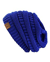 Trendy Warm Chunky Soft Stretch Cable Knit Slouchy Beanie Skully HAT20A (Royal)