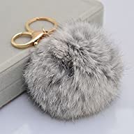 Leegoal Novelty Rabbit Fur Ball Charm Key Chain for Car Key Ring or Bag (Gray)
