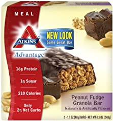 buy Atkins Advantage Peanut Fudge Granola Bar, 5-1.7Oz. Ea, 8.5 Oz.