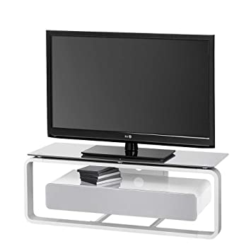 TV Tisch in Weiß Grau Beleuchtung Mit weißer Beleuchtung Pharao24