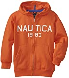 Nautica Big Boys Fleece Full Zip Contrast Hoodie, Vermilion, Medium
