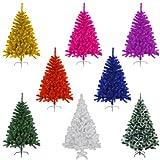 Knstlicher-Weihnachtsbaum-Tannenbaum-Christbaum-mit-Metallfu-150-cm-hoch-rot