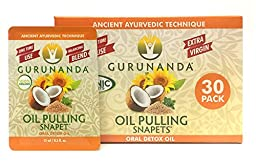 Oil Pulling by GuruNanda - 30 Snapets. Once a day-30day session -Authentic Ayurvedic Formulation -Organic and Natural - 0.5 oz each Snapet