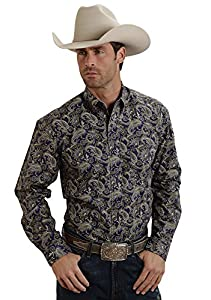 Stetson Mens Blue 100% Cotton L/S Ornate Paisley Print Western Shirt Tall 5XT
