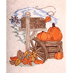 Bath Towel Set with Embroidered Pumpkins and Autumn Leaves Mailbox