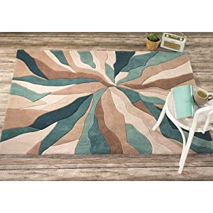 Flair Rugs Infinite Splinter Handtufted Rug, Teal, 80 x 150 Cm from Flair Rugs