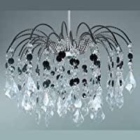 Nickel Frame Fountain Drop Pendant Ceiling Light Shade with Clear & Black Acrylic Crystal Hanging Droplets