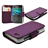 Blackberry 9720 Phone New 3 Colour Synthetic Leather Flip Wallet Case Cover (Purple Colour)