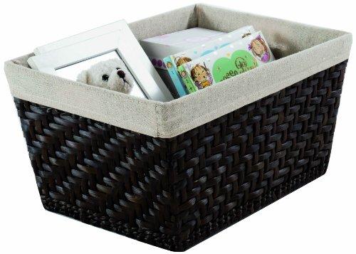 Compactor-Home-RAN6509-Mambo-Panier-avec-Tissu-en-Lin-Moyen-Modle-Jonc-Tress-et-Lin-Chocolat