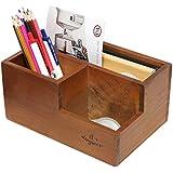 3 Compartment Classic Brown Wood Desktop Office Supply Caddy / Pen Holder / Mail Holder / Desk Organizer