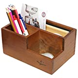 3 Compartment Classic Brown Wood Desktop Office Supply Caddy / Pen Holder / Mail Holder / Desk Organizer