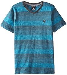 Zoo York Big Boys' Threaded Short Sleeve V-Neck, Hudson Blue, Small/8
