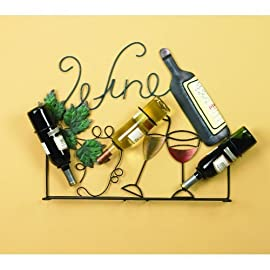 Wine Rack Holder Wall Art Bottles Glasses Vintage Home Decor Wall