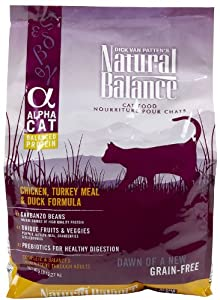 NATURAL BALANCE 236633 4-Pack Alpha Cat Chicken, Turkey and Duck Dry Cat Food, 5-Pound