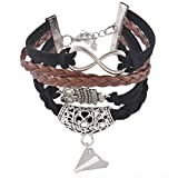 Souarts Black Handmade Braided Multilayer Owl Aircraft Artificial Leather Wristband Bracelet