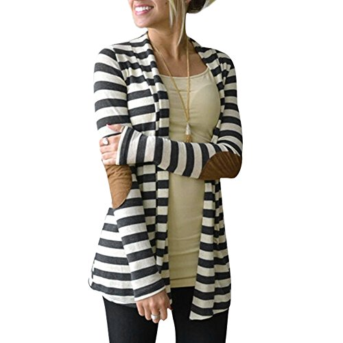 CHIC-CHIC Women Cardigan Autumn Long Sleeve Casual Loose Striped Black and White (XL)