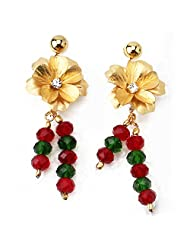 Aarya 24kt Gold Foil Flower Green And Red Combination Earrings For Women