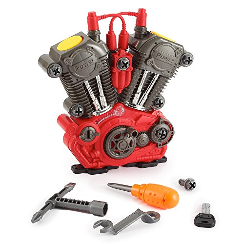 Build Your Own Engine Overhaul Toy Set for Kids - 20 Pieces Take Apart Kit with Tools, Motorcycle Car Sounds and Lights