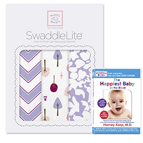 SwaddleDesigns SwaddleLite 3pack with The Happiest Baby On The Block DVD Bundle, Lush Lite, Lavender