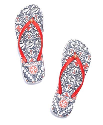 Tory Burch Thandie Wedge Flip Flops Poppy Acoma Size 10