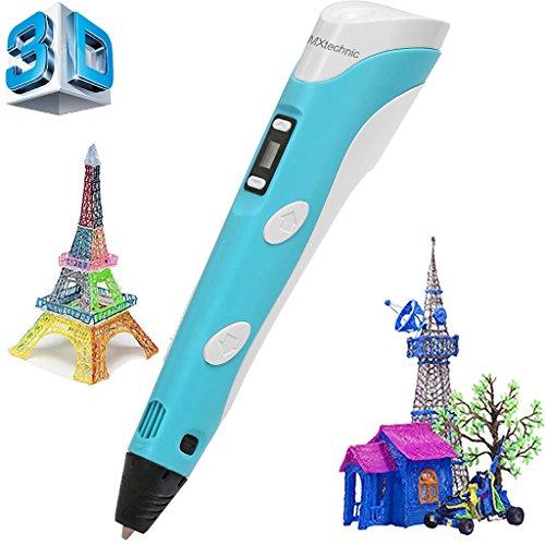 MXtechinc 3D Printing Pen,1.75mm ABS/PLA Led Screen Adjustable Filament Smart 3D Pen,Drawing Pen 3D Free Filament For Kids Christmas Birthday Gift (3D Pen Generation 2 (Blue))