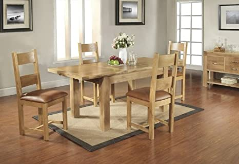 Plaza Rustic Oak Furniture Extending Dining Table