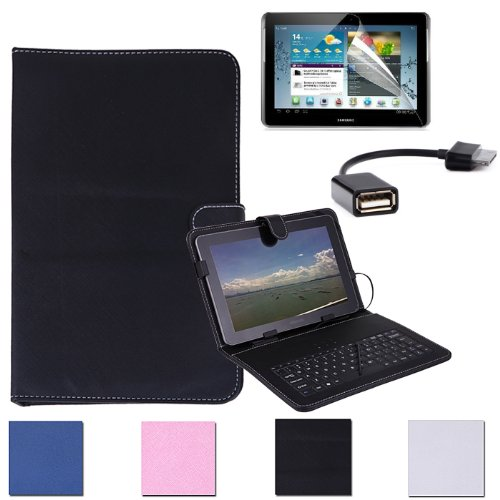 "Hde Folding Pu Leather Folio Case Cover Stand & Usb Keyboard For Samsung Galaxy Tab 2 10.1"" Tablet W/ 30-Pin Adapter And Screen Protector (Black)"