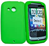 Phonedirectonline- Green silicone gel Skin Case cover pouch for Htc desire C