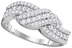10K White Gold 0.75 TCW Diamond Rings Size 7 Includes Free Jewelry Gift Box