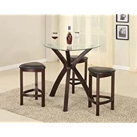 4PC Triangle Solid Wood Bar Table and Stools Set