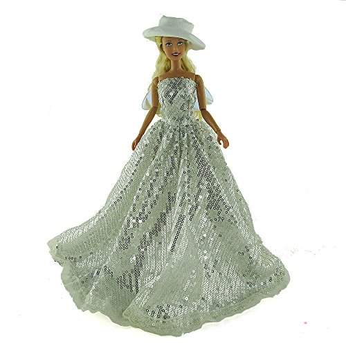 co2CREA(TM) Brand New Silver Fashion Gown Clothes Dresses Mini Cute Outfit for 29cm Barbie Doll (11 1/2 inch scale 1:6) Great Xmas gift for kids - 1