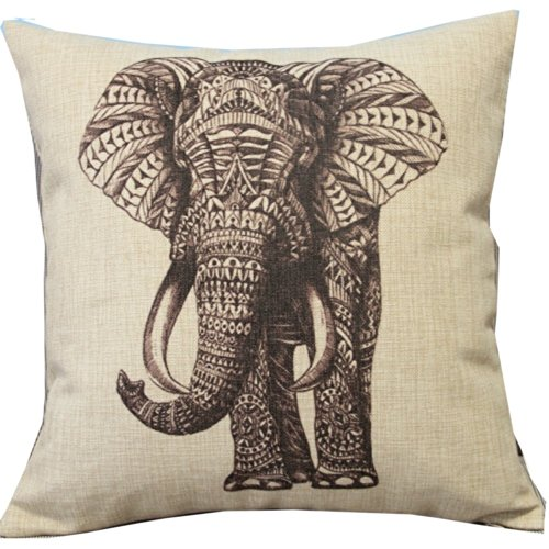 Cartoon Animal Style Abstract Elephant Throw Pillow Case Decor Cushion Covers Square 18*18 Inch Beige Cotton Blend Linen