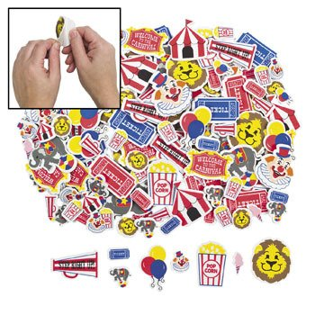 Big Top Circus Carnival Foam Adhesive Shapes/Stickers - 500 pc