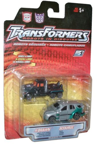Transformers Robots In Disguise Year 2001 2 Pack 3 Inch Action Figures - Autobot Sport Utility Vehicle X-Brawn and Decepticon Truck Scourge - 1