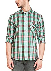 Zovi Cotton Slim Fit Moss Green & Red Checkered Casual Shirt(12032903101_XXLarge)