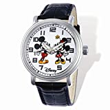 Disney Adult Size Mickey & Minnie Black Leather Watch