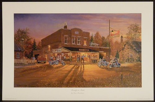 Ready To Ride by Dave Barnhouse 14.5x25 Harley Davidson Motorcycles Bikes Americana Unframed Art Print