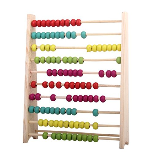 Towallmark Wooden Abacus Educational Toy for Kids, Beads Color: Yellow, Green, Orange, Blue, Shocking Pink Counting Abacus