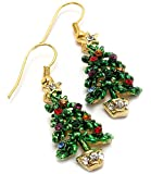 Super Cute Gold Tone Crystal Embellished Dangling Christmas Tree Charm Earrings Winter Fashion Jewelry
