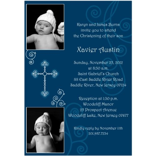 Serenity With Cross Photo Boy Photo Baptism Invitations - Set Of 20 front-1065755