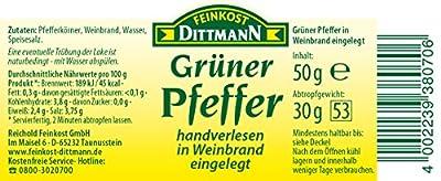 Feinkost Dittmann Grüner Pfeffer in Weinbrand eingelegt Glas, 4er Pack (4 x 50 g) von Feinkost Dittmann - Gewürze Shop