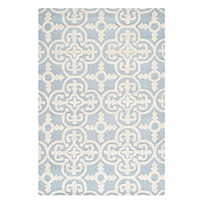Safavieh Cambridge Collection CAM133A Handmade Light Blue and Ivory Wool Area Rug