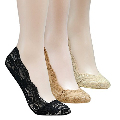 Walkon Women's 3 Pack Whole Lace Shoe Liner No-show Socks *High-Quality* (Combo) (Feet Lace compare prices)