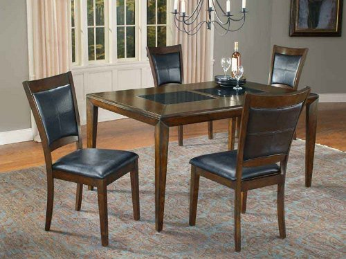 With 5pc Dining Table And Chairs Set With Granite Top In Merlot Finish