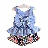 Winer 1 セットキッズ服 女の子大きな弓ベスト シャツ トップ+花柄ショーツ 夏の子供セット (100) ランキングお取り寄せ