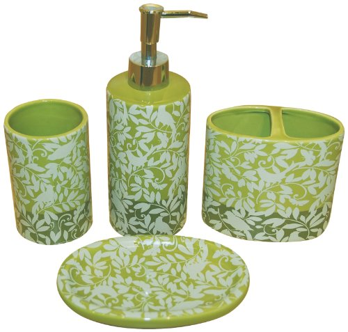 Waverly by Famous Home Fashions Birdsong Apple Bath Accessory Set, 4-Piece