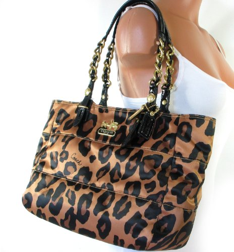 Coach Madison Ocelot Leopard Animal Print East West Gallery Bag Purse Brown