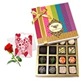 Valentine Chocholik's Belgium Chocolates - Pretty Admire Of White And Dark Chocolate Box With Love Card And Rose