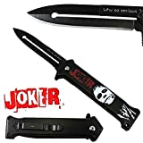 Joker Spring Assisted Opening Pocket Knife Why So Serious? with Belt Clip Tactical Batman Dark Knight 4 Variations (Black/White)