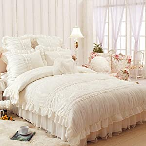 fadfay home textile beautiful milk white ruffle bedding set korean bedding sets